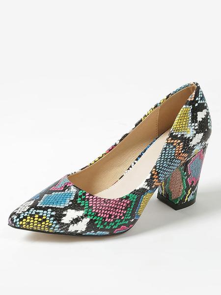Milanoo Zapatos de salon de mujer Punta puntiaguda Estampado de serpiente Tacon ancho Zapatos de tacon alto de piton