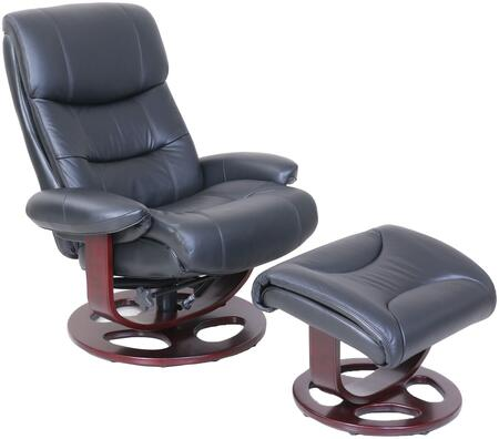 Dawson Collection 158038360799 Pedestal Recliner and Ottoman with Triple Tiered Back  Articulated Head Rest  High Resilience Seat Foam and Leather