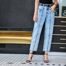 Light Wash Straight Leg Cropped Jeans Without Belt