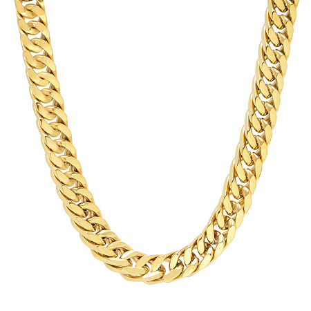Stainless Steel 24 Inch Solid Curb Chain Necklace, One Size , No Color Family