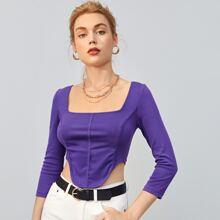 Camisetas Asimetrico Liso Morado Violeta Elegante