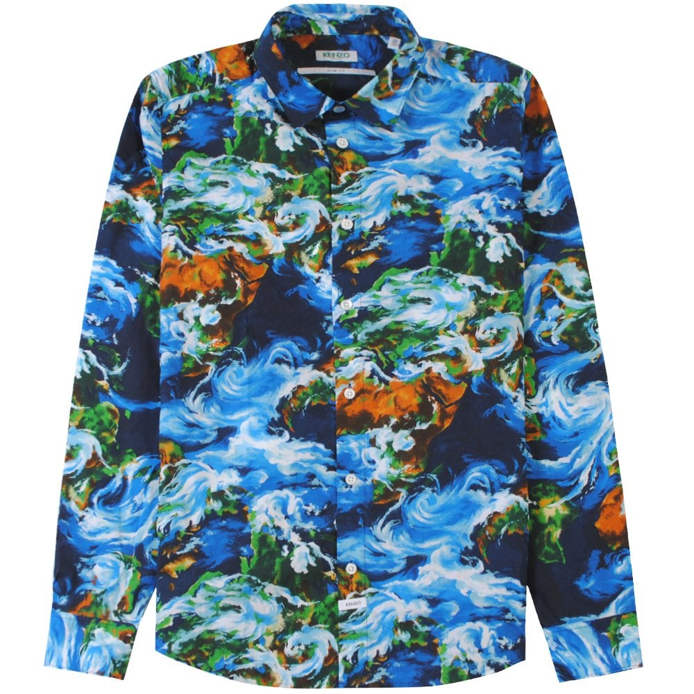 Kenzo World Patterned Shirt Colour: BLUE, Size: EXTRA LARGE