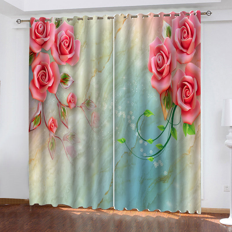 3D Pastoral Rose Printed Blackout Decoration 2 Panels Curtain Drapes for Living Room No Pilling No Fading No off-lining