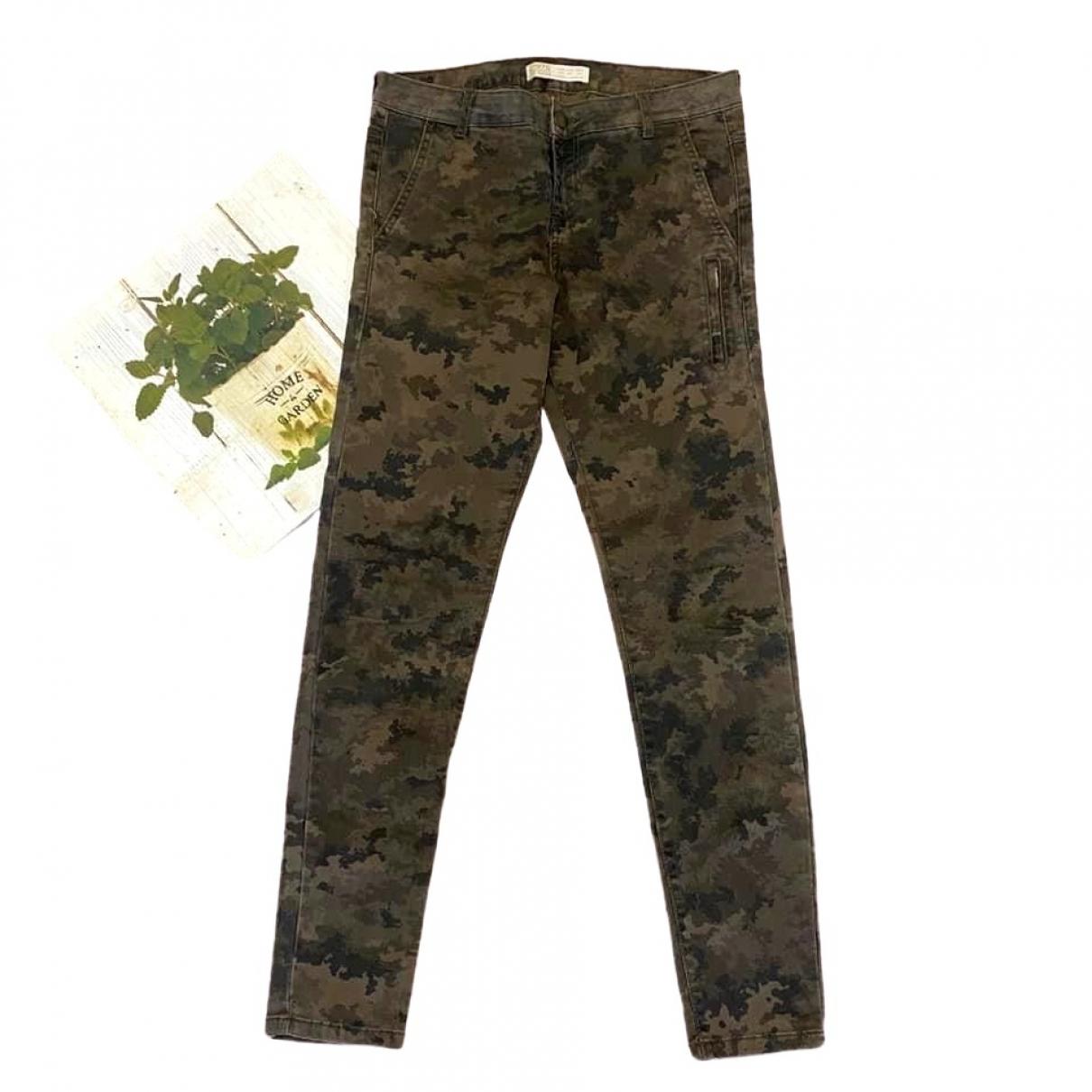 Zara - Pantalon   pour femme en coton - kaki