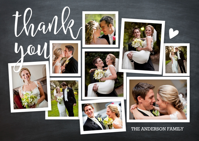 Wedding Thank You 5x7 Cards, Standard Cardstock 85lb, Card & Stationery -Thank You Rustic Collage