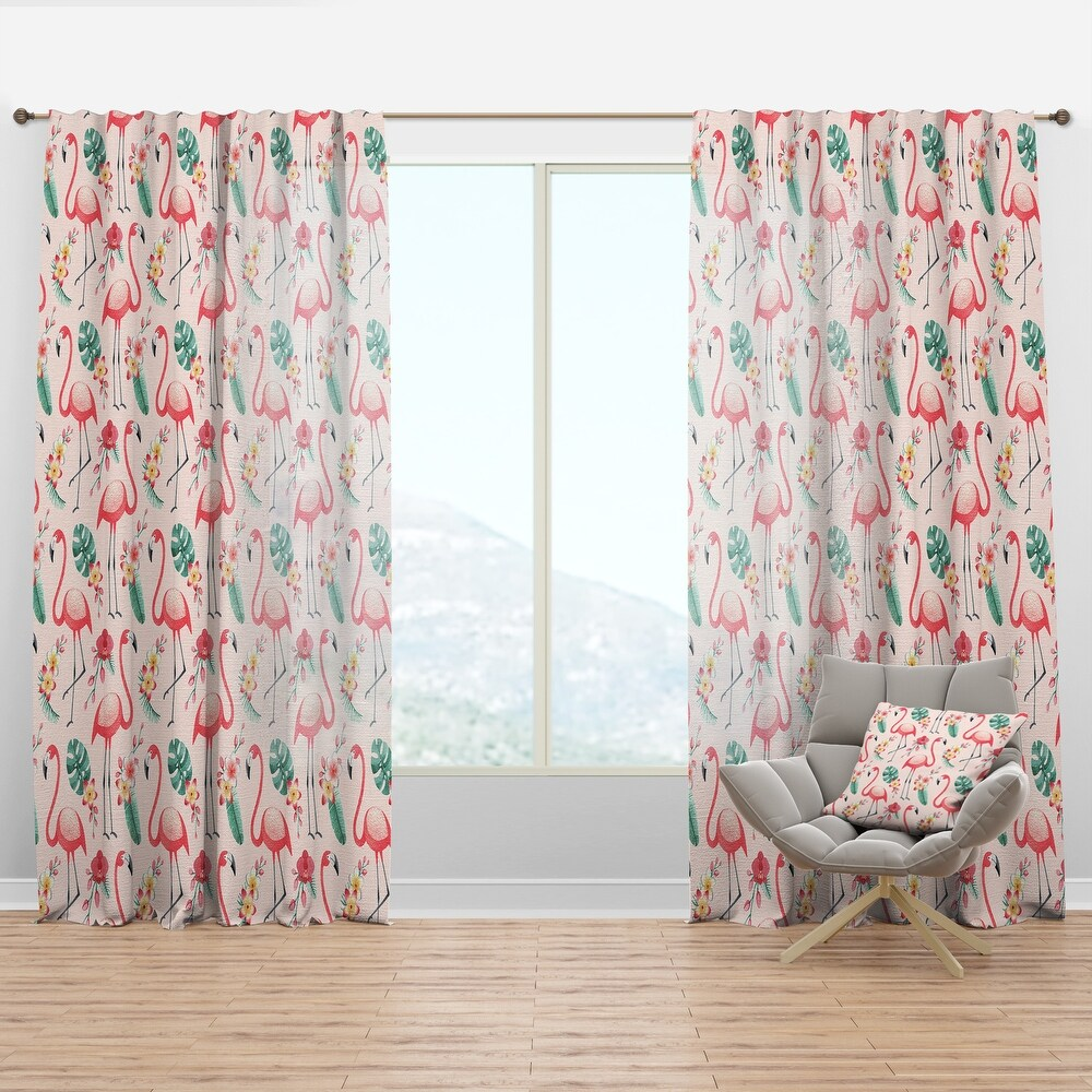 Designart Tropical Botanicals, Flowers And Flamingo II Mid-Century Modern Curtain Panel (50 in. wide x 63 in. high - 1 Panel)