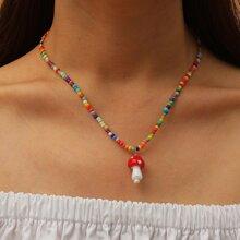 Mushroom Charm Beaded Necklace
