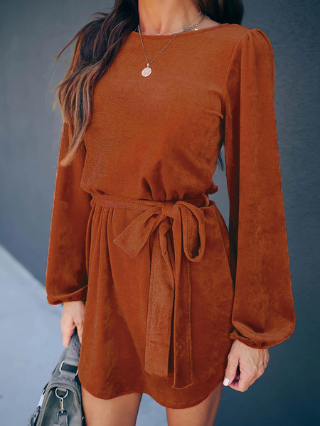 Yoins Belt Design Round Neck Long Sleeves Corduroy Dress