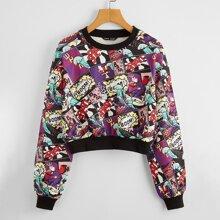 Pullover mit sehr tief angesetzter Schulterpartie und Pop Art Muster