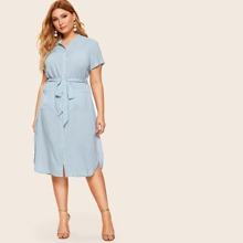Grosse Grossen - Hemdkleid mit Knopfen vorn, Taschen Flicken und Guertel