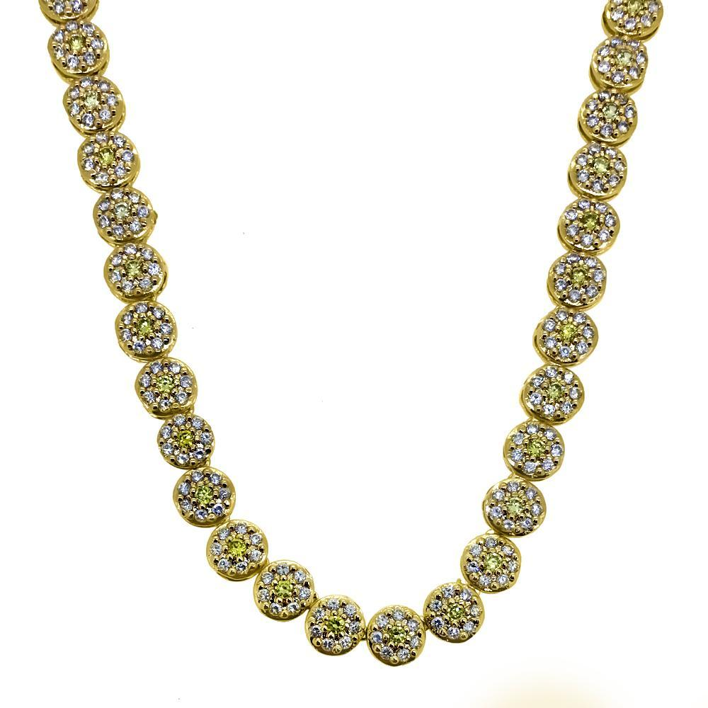 CZ White and Yellow Cluster Chain Bling Bling
