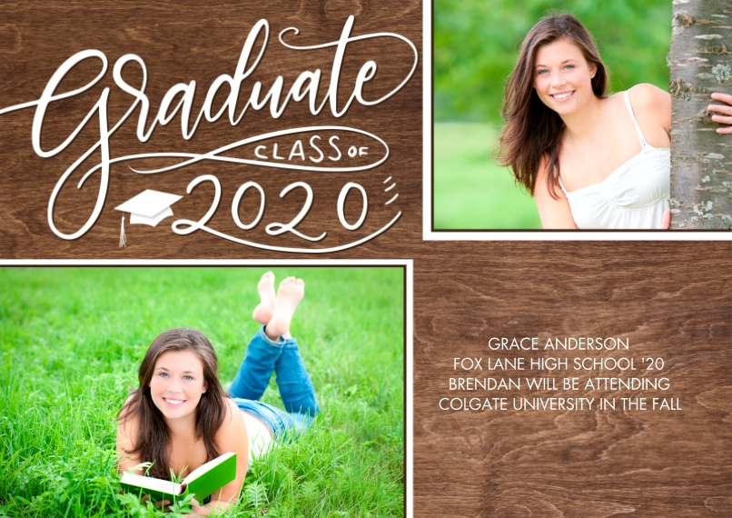 2020 Graduation Announcements 5x7 Cards, Premium Cardstock 120lb, Card & Stationery -Graduate 2020 Swirl Collage by Tumbalina