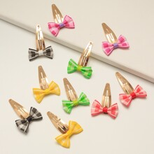 5pairs Toddler Girls Plaid Pattern Bow Snap Clip
