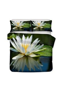 White Lotus Flowers And Lotus Leaves On The Lake Printed 3-Piece Bedding Sets/Duvet Covers