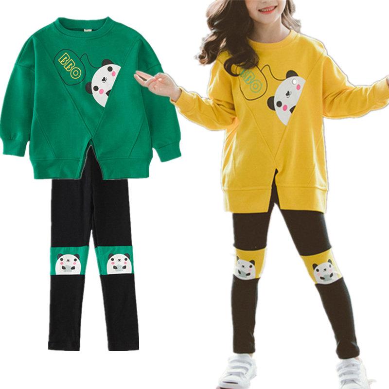 Girl's Panda Cartoon Patchwork Long Sleeves Casual Sports Sweatshirt Set For 4-15Y