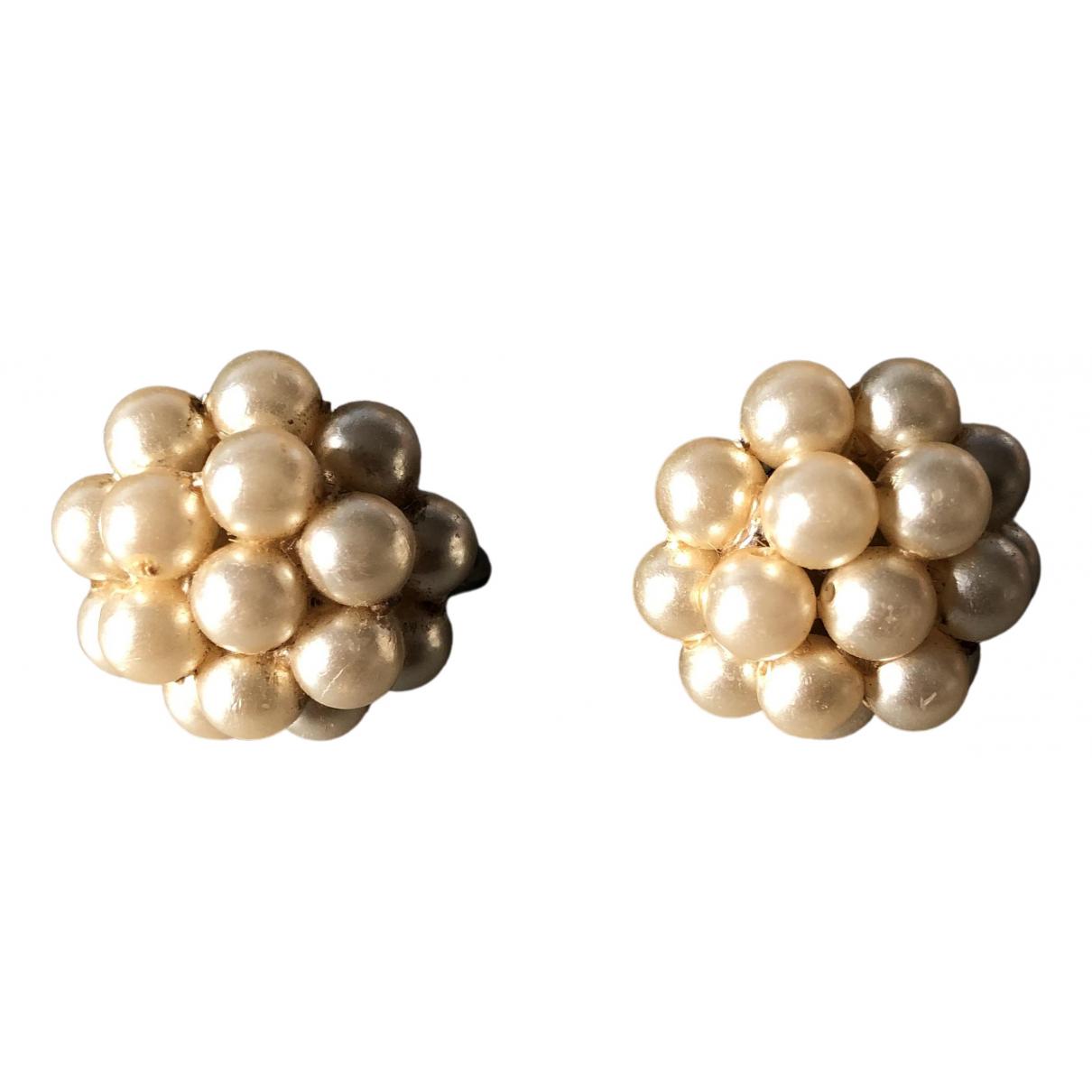 - Boucles doreilles Motifs Floraux pour femme en perles - ecru