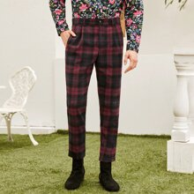 Pantalones de tartan de cintura con boton