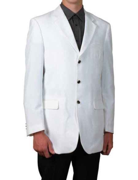 Mens White Single Breasted 3Button Blazer Sportscoat Dinner Suit