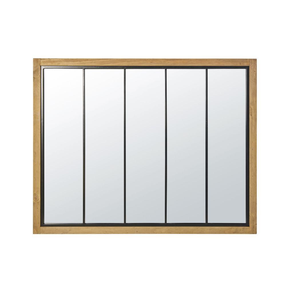 Spiegel mit Rahmen aus Kiefernholz und schwarzem Metall 120x95