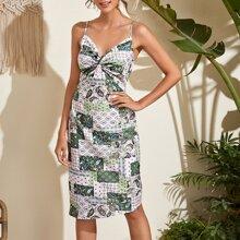 Kleid mit Twist vorn, Paisley Muster, Flicken und asymmetrischem Saum