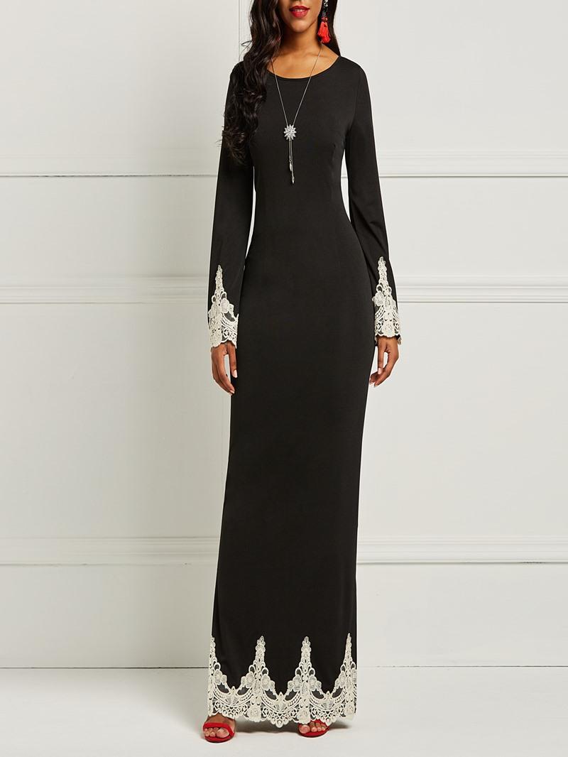 Ericdress Long Sleeves Lace Patchwork Women's Dress