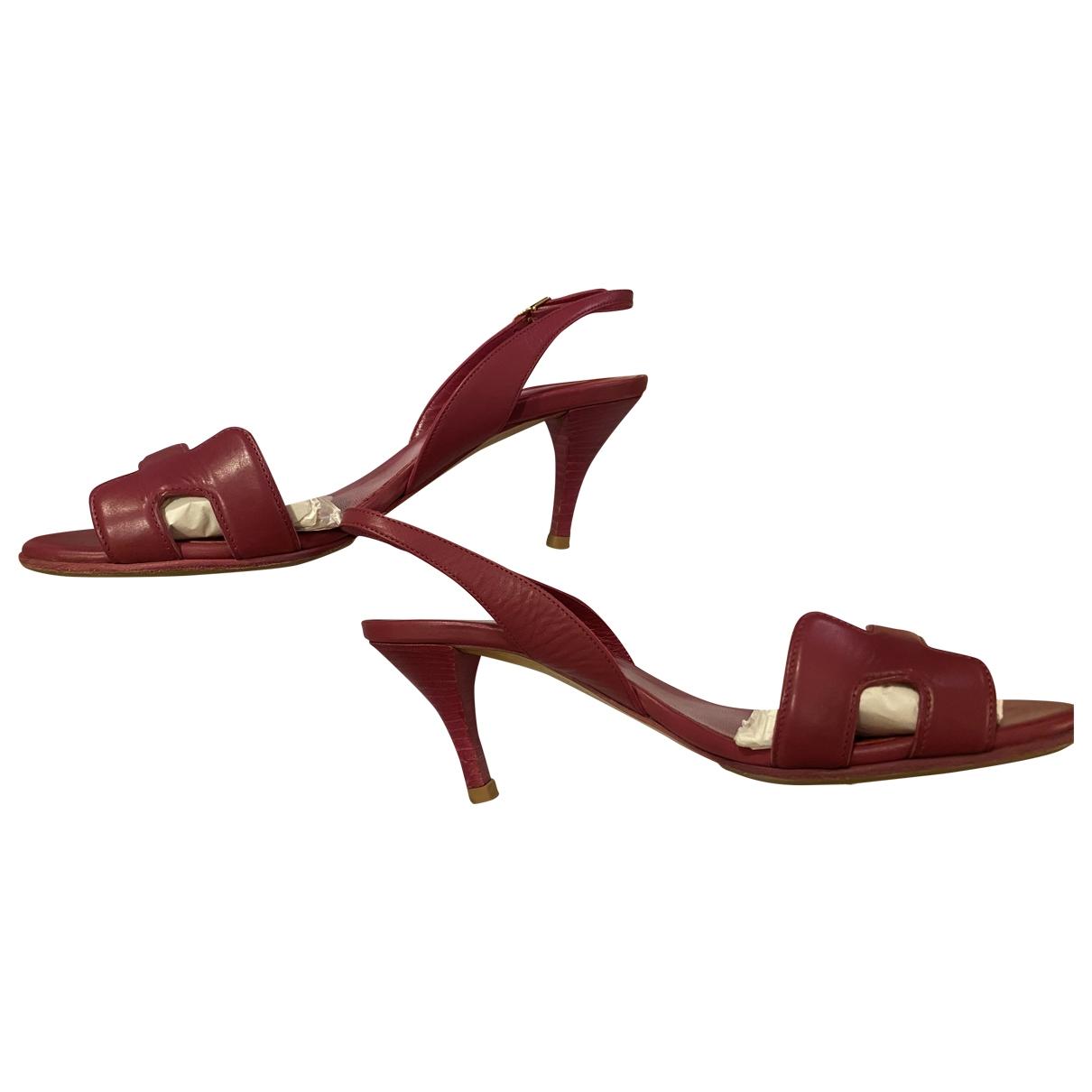 Hermes - Sandales Night pour femme en cuir - rose