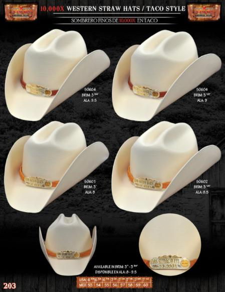 10000x Taco Style Western Cowboy Straw Hat