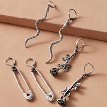 3pairs Serpentine & Rose Charm Earrings