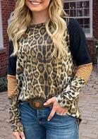 Leopard Striped Splicing T-Shirt Tee