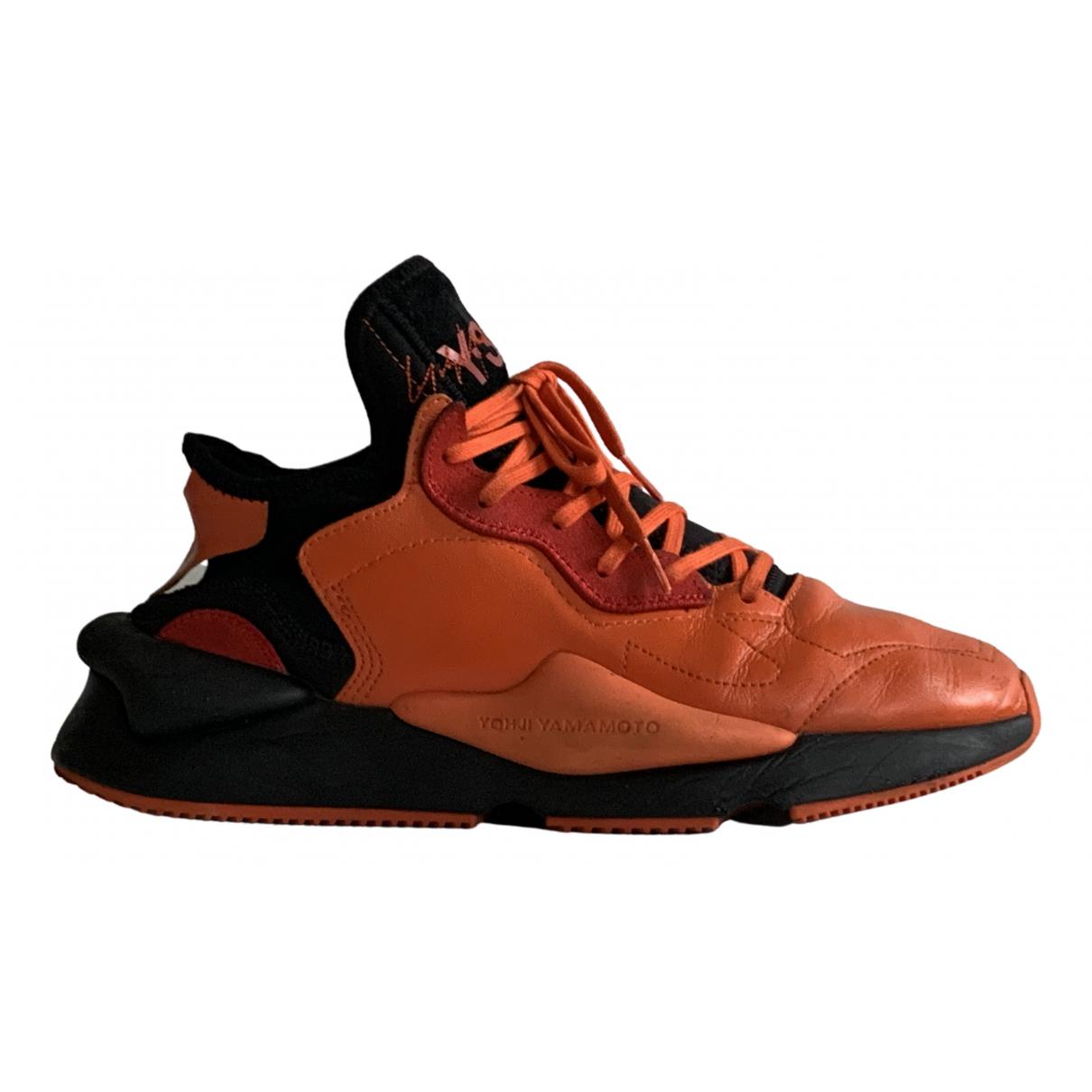 Y-3 - Baskets   pour homme en cuir - orange