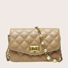 Faux Pearl Decor Quilted Turn-Lock Crossbody Bag