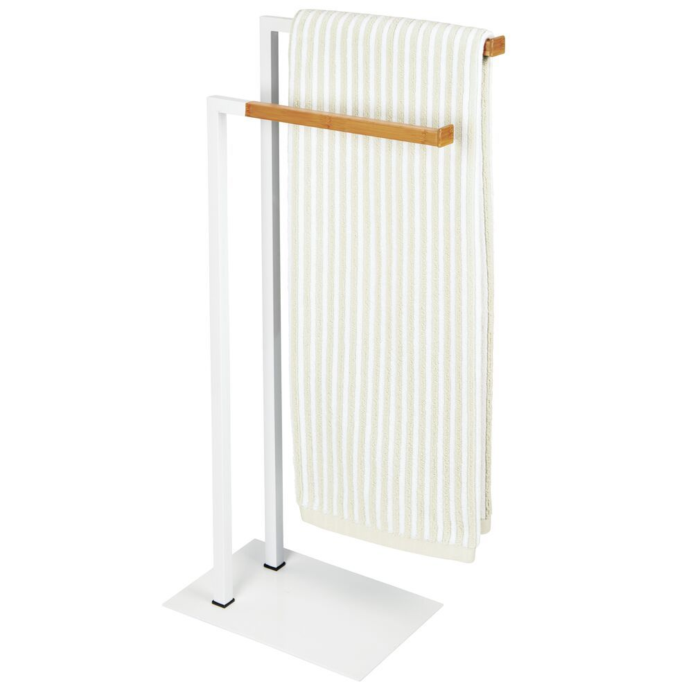 2 Tier Bathroom Towel Rack Storage Stand - /Bamboo in White, 7.9