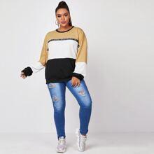 Pullover mit Ausschnitt, Naht und Buchstaben Muster