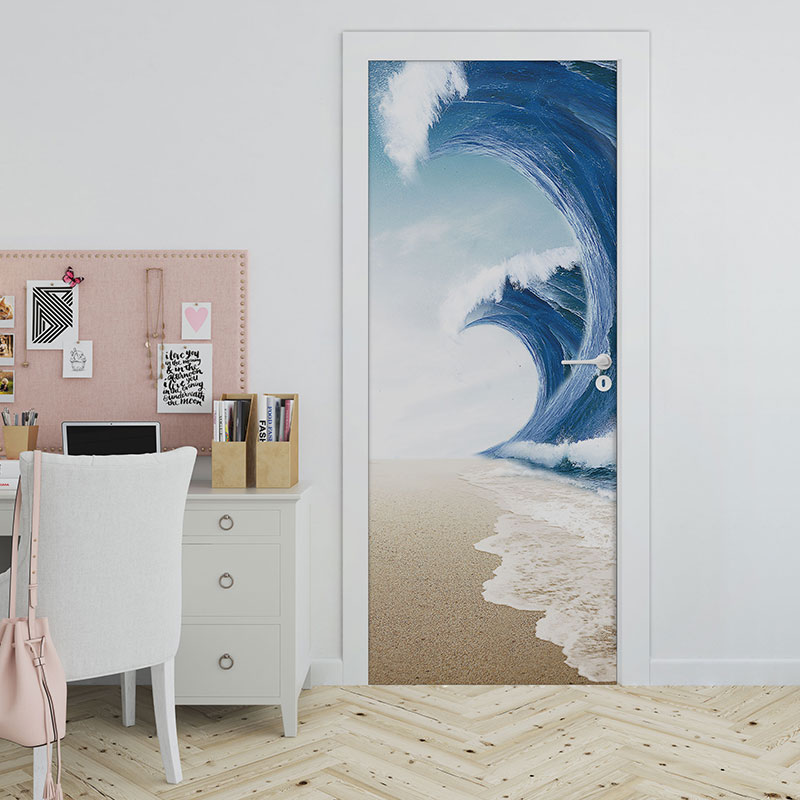 Surging Waves and Beach Modern Wall Decorations Door Stickers Murals Decal Self-Adhesive Removable Door Decals, 3D Wall Sticker Reusable Wallpaper
