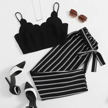 Scallop Trim Crop Cami Top & Striped Paperbag Pants