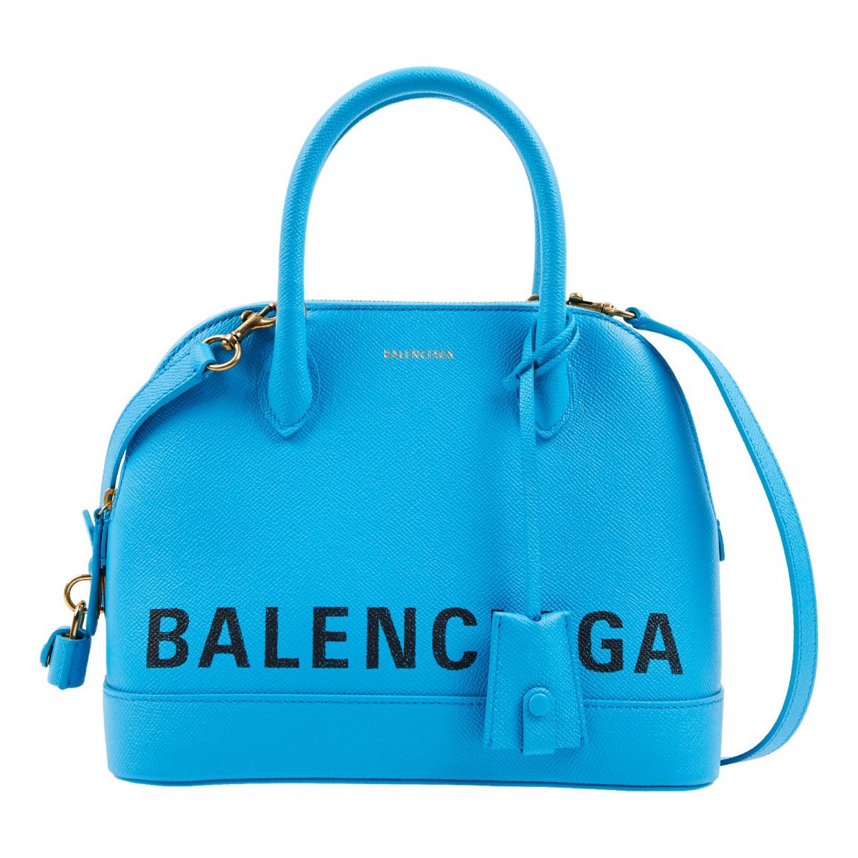 Balenciaga - Sac a main Ville Top Handle pour femme en cuir - turquoise