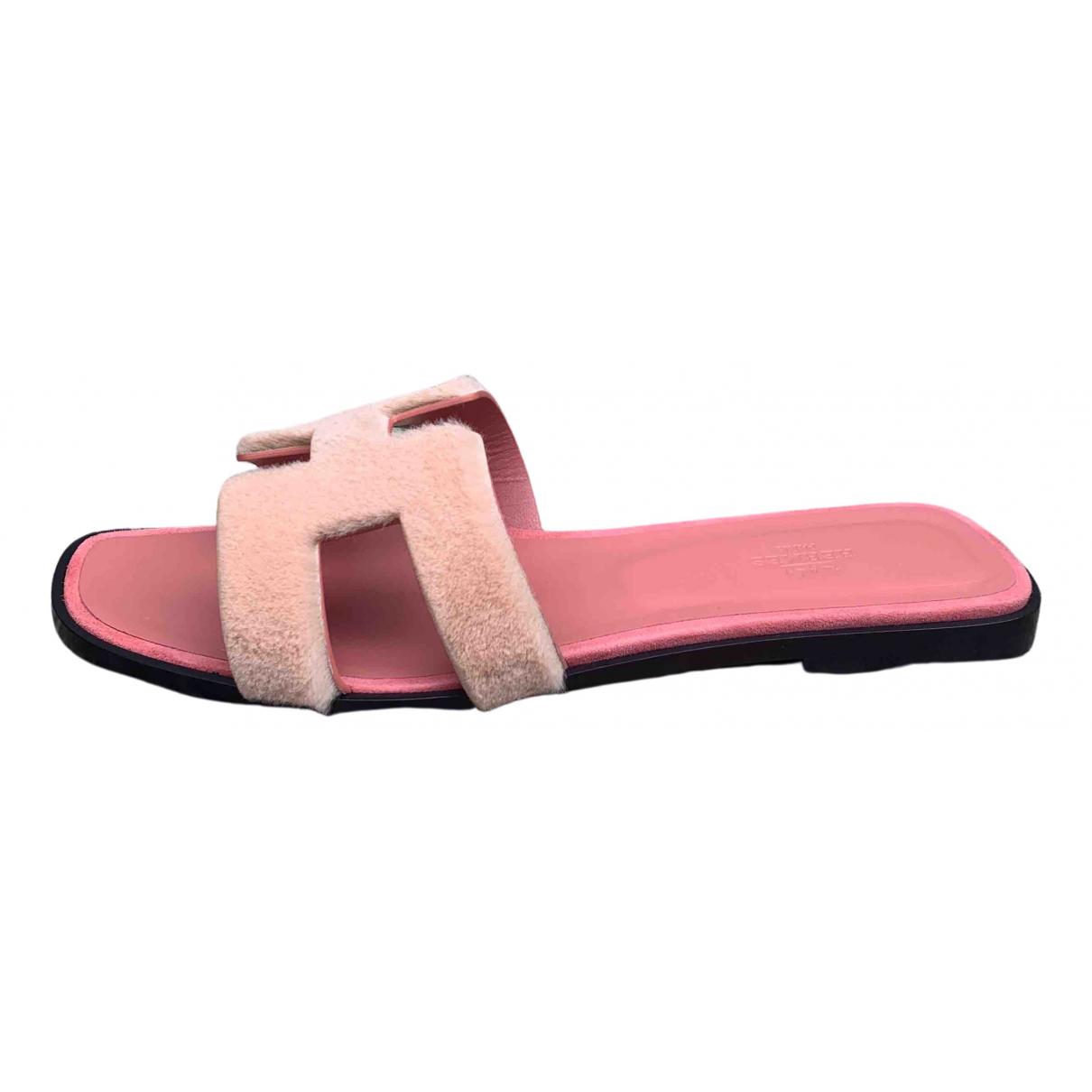 Hermes - Sandales Oran pour femme en vison - rose