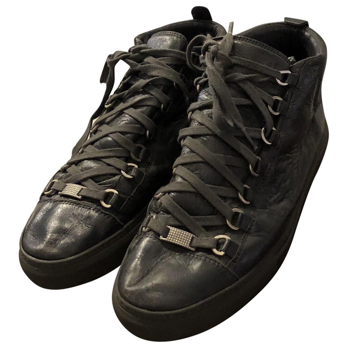 Balenciaga Arena Anthracite Leather Trainers for Women 40 EU