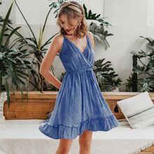 Wrap Front Ruffle Hem Allover Print Dress
