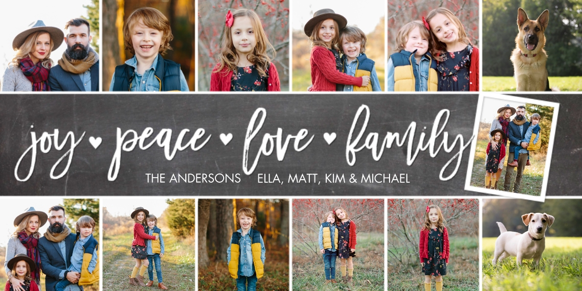 Holiday Photo Cards 4x8 Flat Card Set, 85lb, Card & Stationery -Holiday Joy Peace Hearts Collage