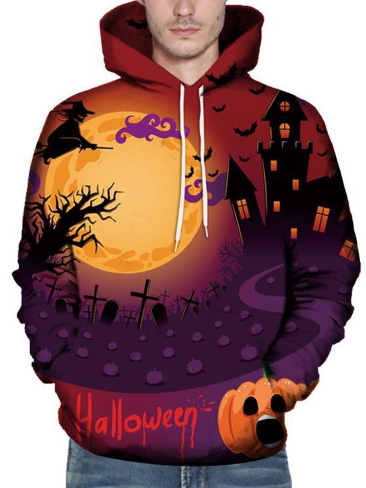 Ericdress Architecture Pullover Print Loose Men's Halloween Costume Hoodies