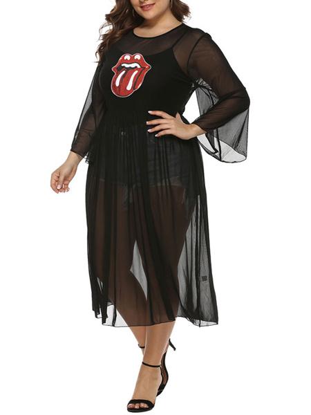 Milanoo Plus Size Black Dress For Women Lips Cover Up Dresses