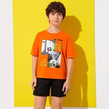 Boys Slogan and Graphic Print Top
