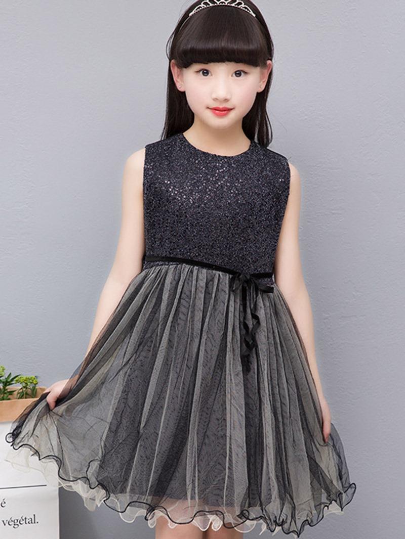 Ericdress Sweet Lace Mesh Patchwork Sleeveless Bowknot Girls Dress