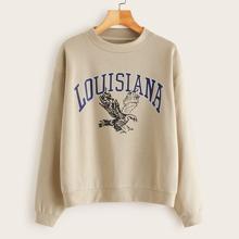 Eagle & Letter Graphic Drop Shoulder Sweatshirt