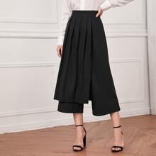 Pleated Panel Wide Leg Cropped Pants