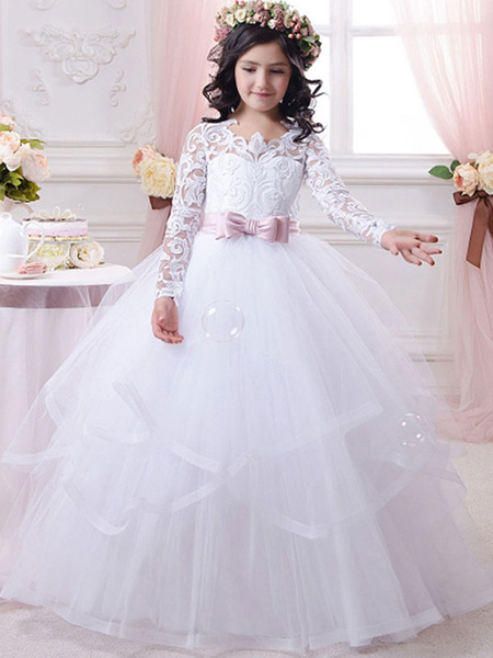 Milanoo Flower Girl Dresses Jewel Neck Tulle Long Sleeves Floor-Length Ball Gown Bows Kids Pageant Dresses