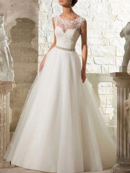 Milanoo wedding dresses 2020 a line beaded jewel neck sleeveless floor length tulle traditional bridal dress with train