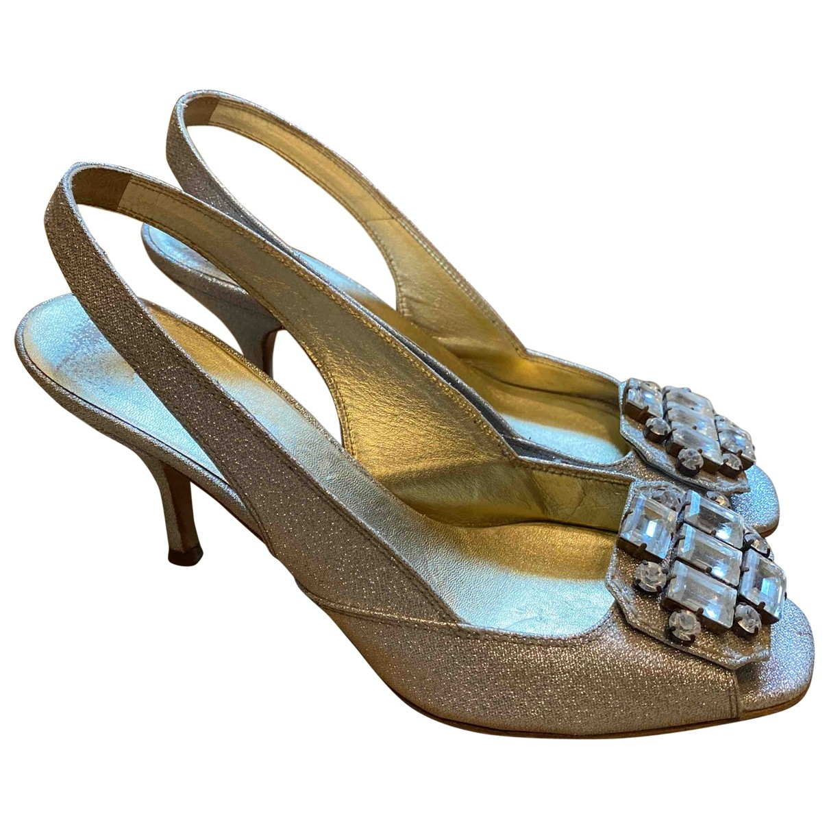 Miu Miu \N Silver Leather Heels for Women 37.5 EU