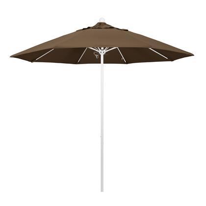 ALTO908170-5425 9' Venture Series Commercial Patio Umbrella With Matted White Aluminum Pole Fiberglass Ribs Push Lift With Sunbrella 1A Cocoa
